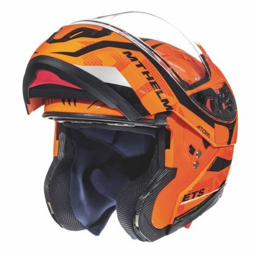 Motorcycle Motorbike MT Atom SV Divergence Flu Orange Flip-Up Road Crash Helmet