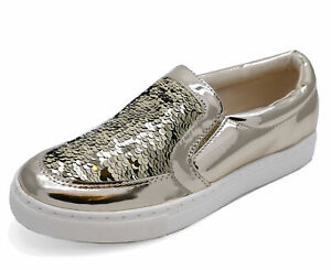 LADIES GOLD SEQUIN SLIP-ON FLAT LOAFERS