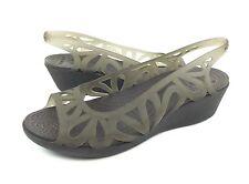 Crocs Adrina III Mini Wedge Womens 9 Gray Peep Toe Slingback Sandals Heels