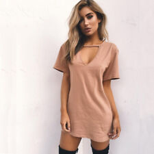 6a54dd6032e item 2 Women Short Sleeve Choker V Neck Long Top T-shirt Ladies Casual  Party Mini Dress -Women Short Sleeve Choker V Neck Long Top T-shirt Ladies  Casual ...