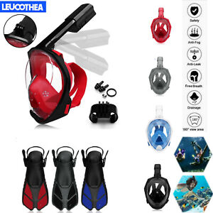 Anti-Fog-Full-Face-Diving-mask-Snorkel-mask-Swimming-short-fins-foot-flippers