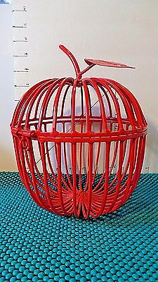 Wrought Iron Cage, Red, Apple, Home Decor, Holds:Candle, Corks, Flowers, Shells