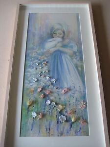 Marilyn-Zapp-Original-Mixed-Media-Watercolor-Pastel-3D-Flowers-Framed-Signed