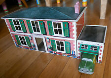 METTOY TINPLATE HOUSE GARAGE & CAR VERY RARE TOY 1950's TIN MT3312