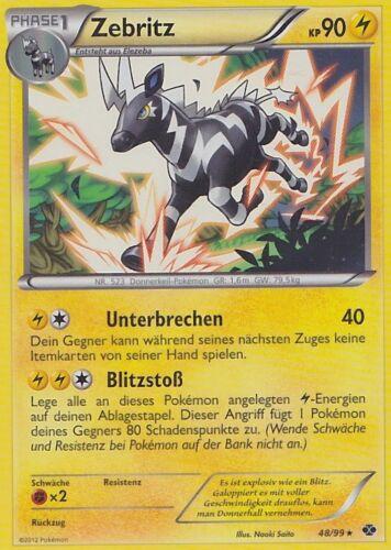 Reverse Holo DE NM Pokemon 48//99 Kommende Schicksale Zebstrika Zebritz