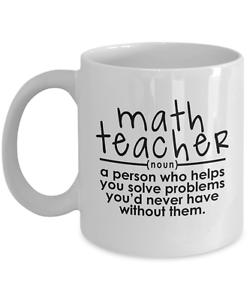 Funny Math Teacher Coffee Mug Cup Gift Lover Tutor Noun Helps You Solve Problems