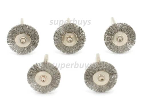 5pc Steel Wire Wheel Brush Abrasive Cleaning Rubbing Grinding Dremel Drill Bit