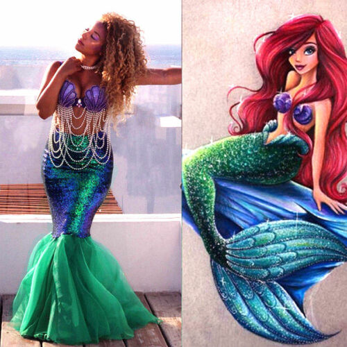 Womens Adult Mermaid Tail Full Skirt Party Maxi Fancy Dress Cosplay Costume UK