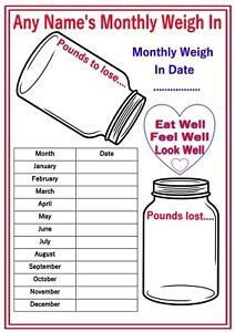 personalised reusable diet weight loss chart progress tracker