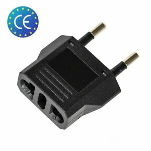 1x-Reise-Stecker-Adapter-US-USA-AU-EU-to-EU-Euro-Europe-Schwarz