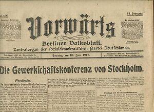 En Avant (10. Juin 1917): Le Syndicat Conférence De Stockholm-onferenz Von Stockholm Fr-fr Afficher Le Titre D'origine Chaud Et Coupe-Vent