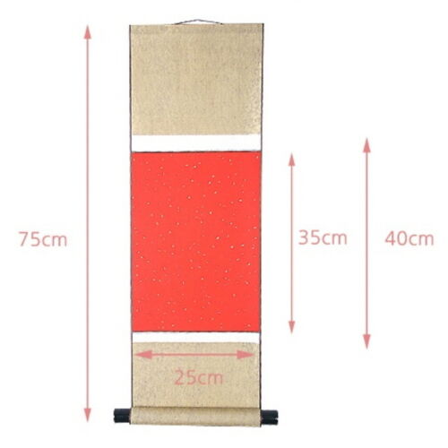 Empty Blank Scroll 25cm X 75cm, Red paper Japanese Chinese Calligraphy Art