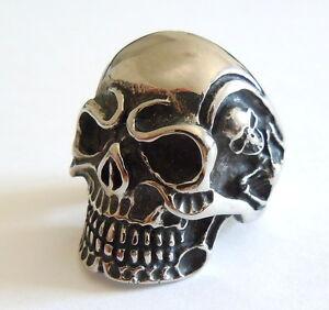 f4d61a9b4cf2 Men s Gothic Skull Ring - Stainless Steel Rocker Evil Skeleton Biker ...