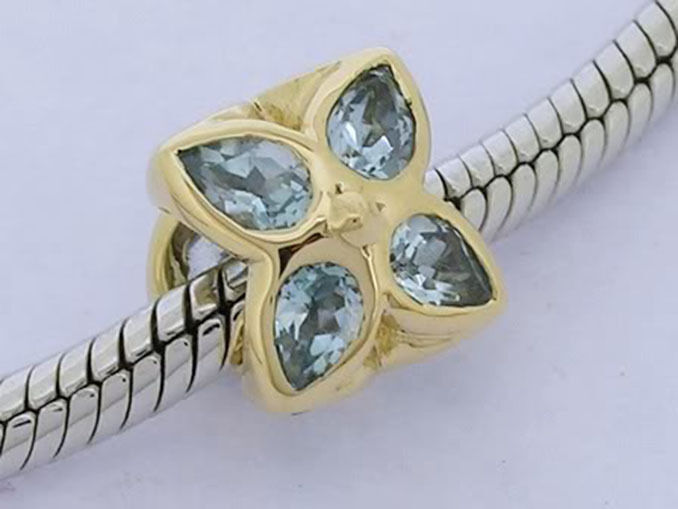 Bd083 Authentic Genuine Solid 9ct Yellow gold Natural bluee Topaz Blossom Bead