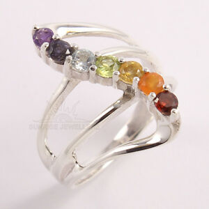Chakra New Fashion Healing 7 Stones Ring All Sizes 925 Sterling Silver Jewelry