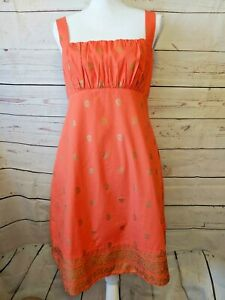 Anthropologie-Maeve-Fire-Island-Sleeveless-Dress-Size-8-Coral-amp-Gold-Paisley