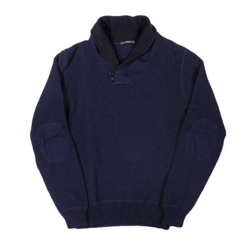 Z Zenga Men/'s Heavy Knit Shawl Collar 100/% Cotton Navy Blue Sweater
