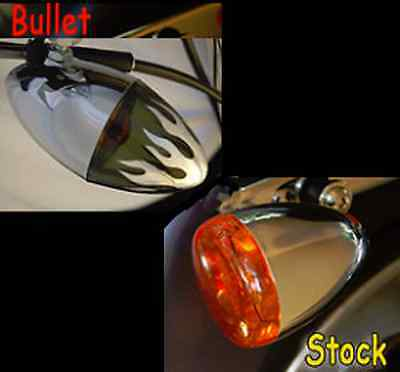 FITS HARLEYS 60MM POP ON TURN SIGNAL LENS CHROME BULLET  FLAME SMOKE  FITS FRONT