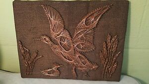 Vintage Mod Copper Wire Nail Art Duck Flying On Burlap Wall