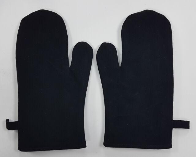 2x Maniques Gants Noir Gant de Barbecue Daim Véritable Neuf Mitaine de Four