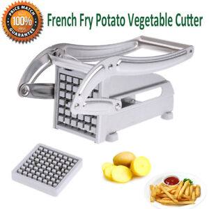 Stainless-Steel-French-Fry-Cutter-Potato-Chip-Vegetable-Fruit-Slicer-w-2-Blades