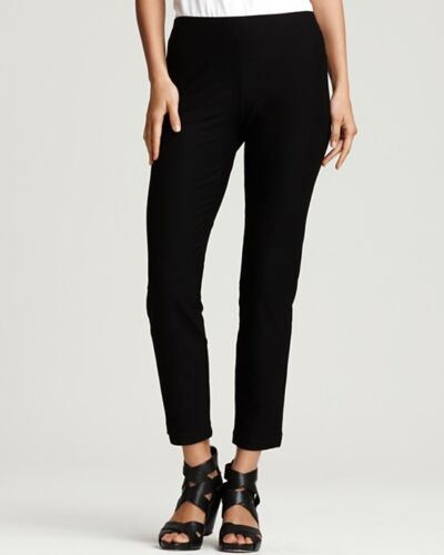 NEW EILEEN FISHER BLACK WASHABLE STRETCH CREPE SLIM ANKLE PANT S $168