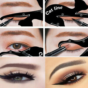 2-Cat-Line-Augen-Make-Up-Werkzeug-Eyeliner-Schablone-Template-Shaper-Gut