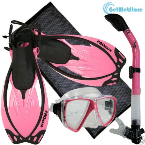 Snorkeling Diving Mask Dry Snorkel Fins Flippers Mesh Bag Package Gear Set