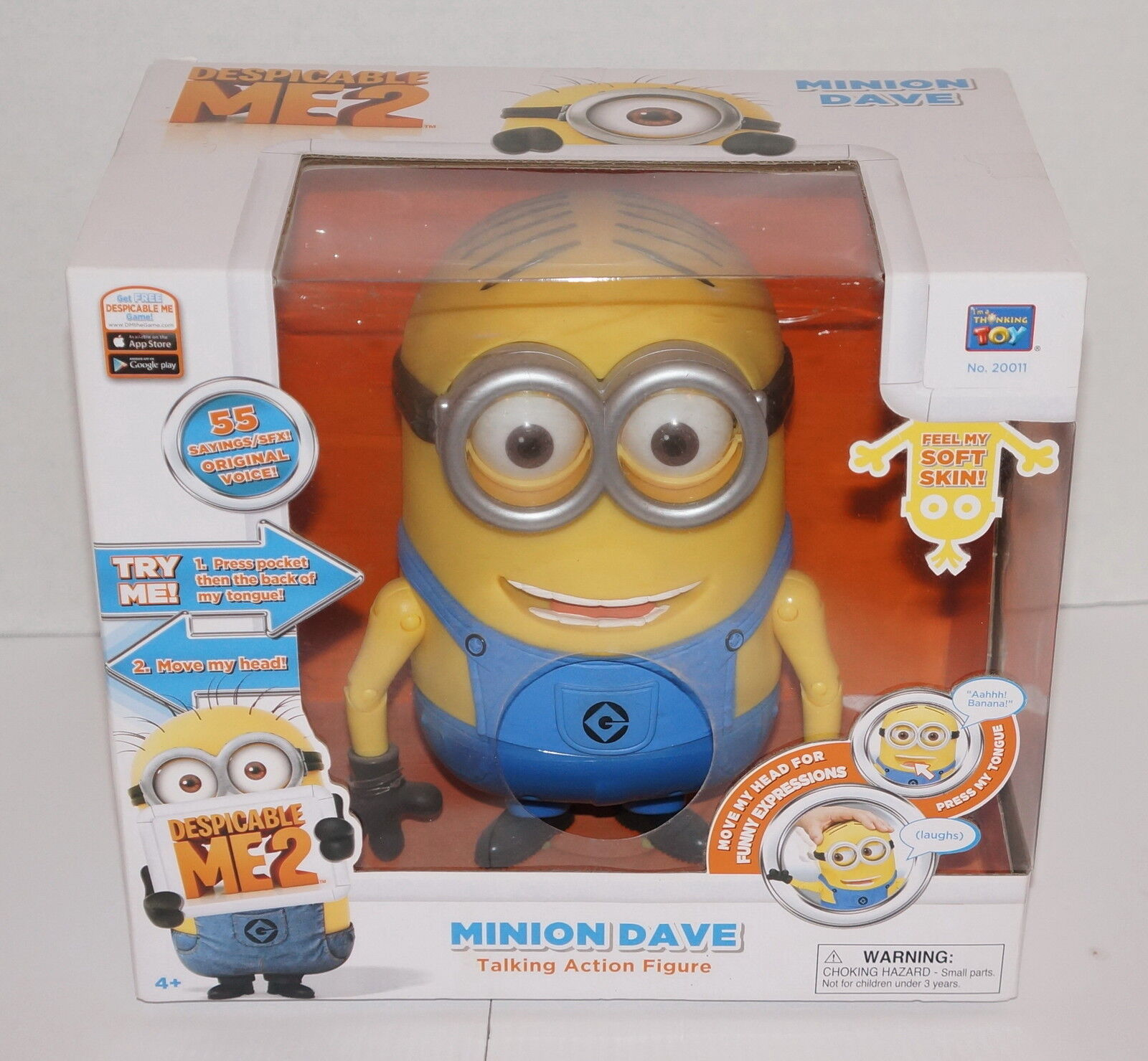 DESPICABLE ME 2 MINION DAVE LAUGHING 8  ACTION FIGURE 20011 NEW IN BOX