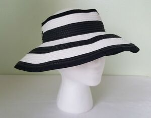 Image is loading Vince-Camuto-black-white-striped-visor-hat c4e0df3da7ed