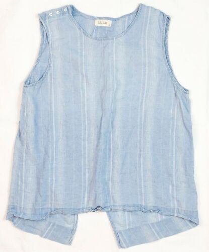 BELLA DAHL CHAMBRAY STRIPE SPLIT BACK SLEEVELESS T