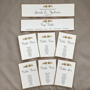 Handmade-Personalised-Vintage-Rustic-Rose-Table-Seating-Plan-Individual-Cards