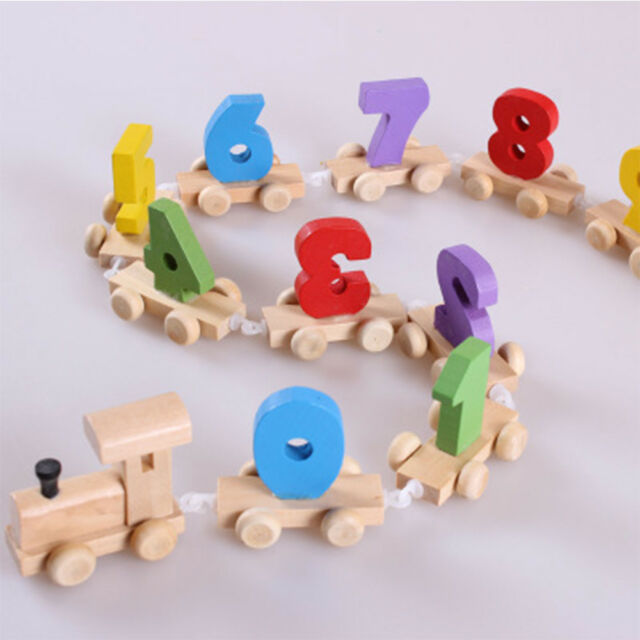 Interesting Number Train Model Early Learning Blocks Wooden Toy Useful