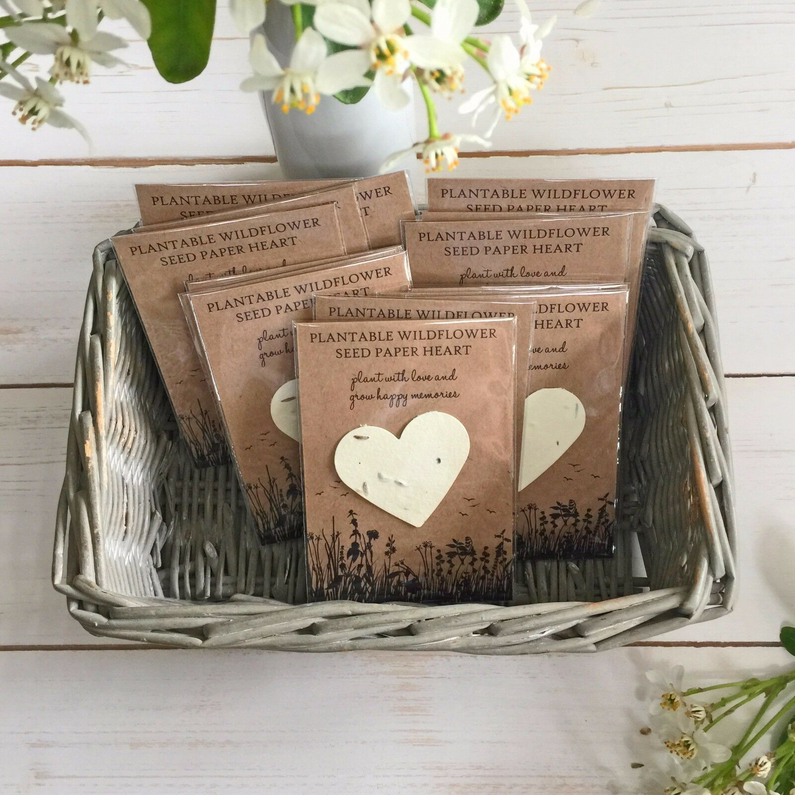 Seed Paper Heart Funeral Favour Grow Happy Memories Or Sympathy