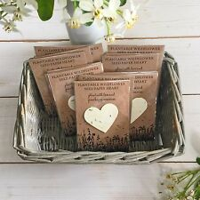 10 Plantable Seed Paper Heart Funeral Favours 'Grow Happy Memories'