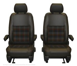 Sitzbezüge 1+2 für VW Transporter T5 Kunstleder hier in GRAU.