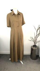 BNWT-Massimo-Dutti-Tan-Camel-Long-A-line-Maxi-Shirt-Dress-Smart-Casual-Size-14