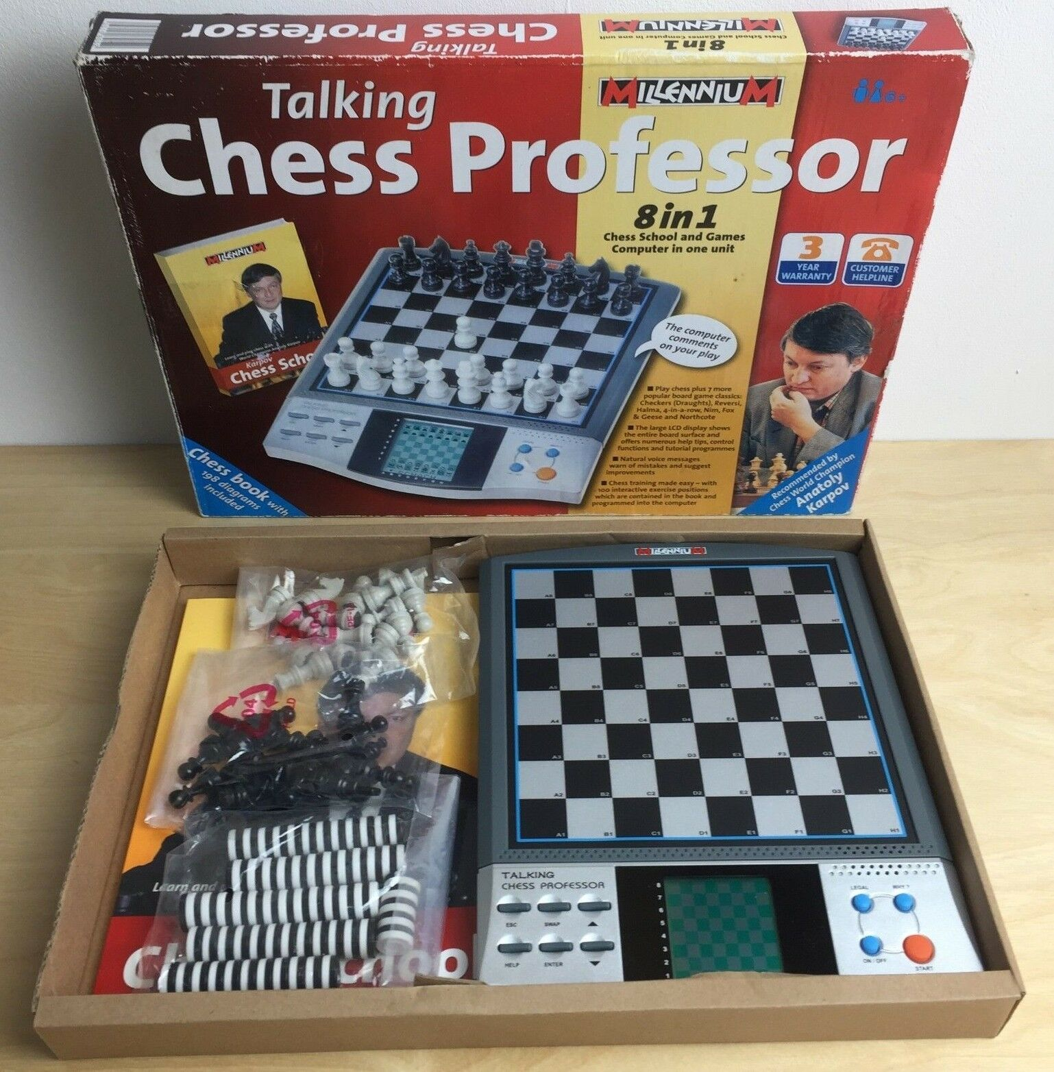 TALKING CHESS PROFESSOR 8 in 1 Chess School and Games Computer by Millennium New