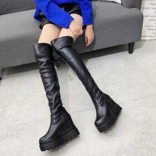 stivali stivaletti nero morbidi ginocchio coscia zeppa 11 cm stiletto  alti 9594