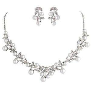 Bridal Wedding Necklace Earring Jewellery Luxury Ivory Pearl & Silver Gift Set