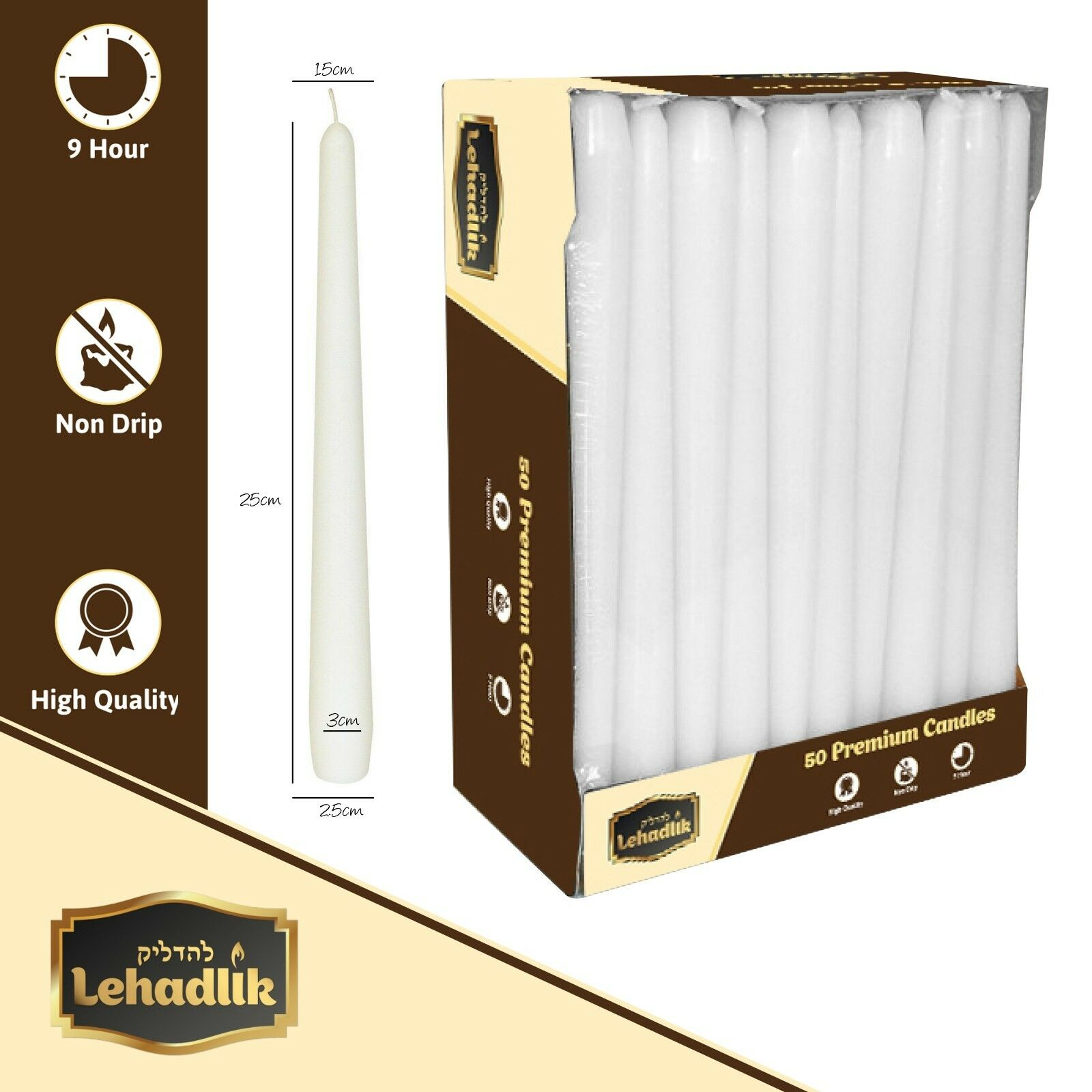 High Quality 50 Unscented Bistro Tapered 25cm White Dinner Food Table Candles 8-9 Hours Burn Time High Quality for Home/Events/Restaurant/Wedding/Party