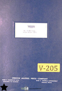 Groovy Verson 7S Obi Press Operations Maintenance And Parts Manual Ebay Wiring Cloud Nuvitbieswglorg