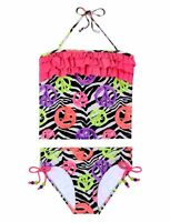 Justice Girls Pink Zebra Peace Tankini Swimsuit Sz 6 Top 8 Bot Summer