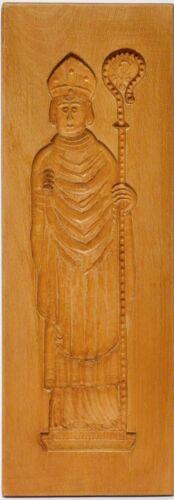 Spekulatiusbrett Spekulatius Brett Holz Buche handgeschnitzt Bischof 49 x 17 cm