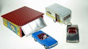 Kovap-Garage-amp-2-Mercedes-Coupes-Hand-Made-European-Tin-Toys-Collectors-Toys