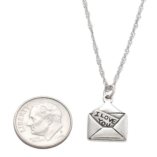 STERLING SILVER ONE SIDED LOVE LETTER CHARM WITH THIN SINGAPORE CHAIN NECKLACE