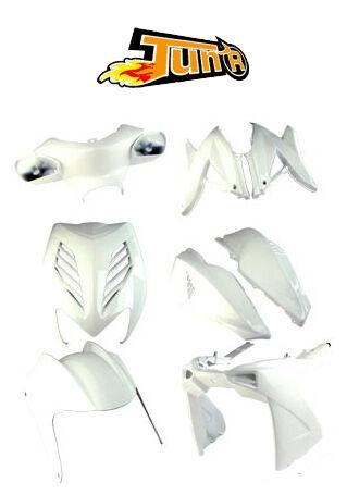 Kit carénage Carrosserie TUN/'R 8 coques MBK Nitro YAMAHA Aerox Blanc