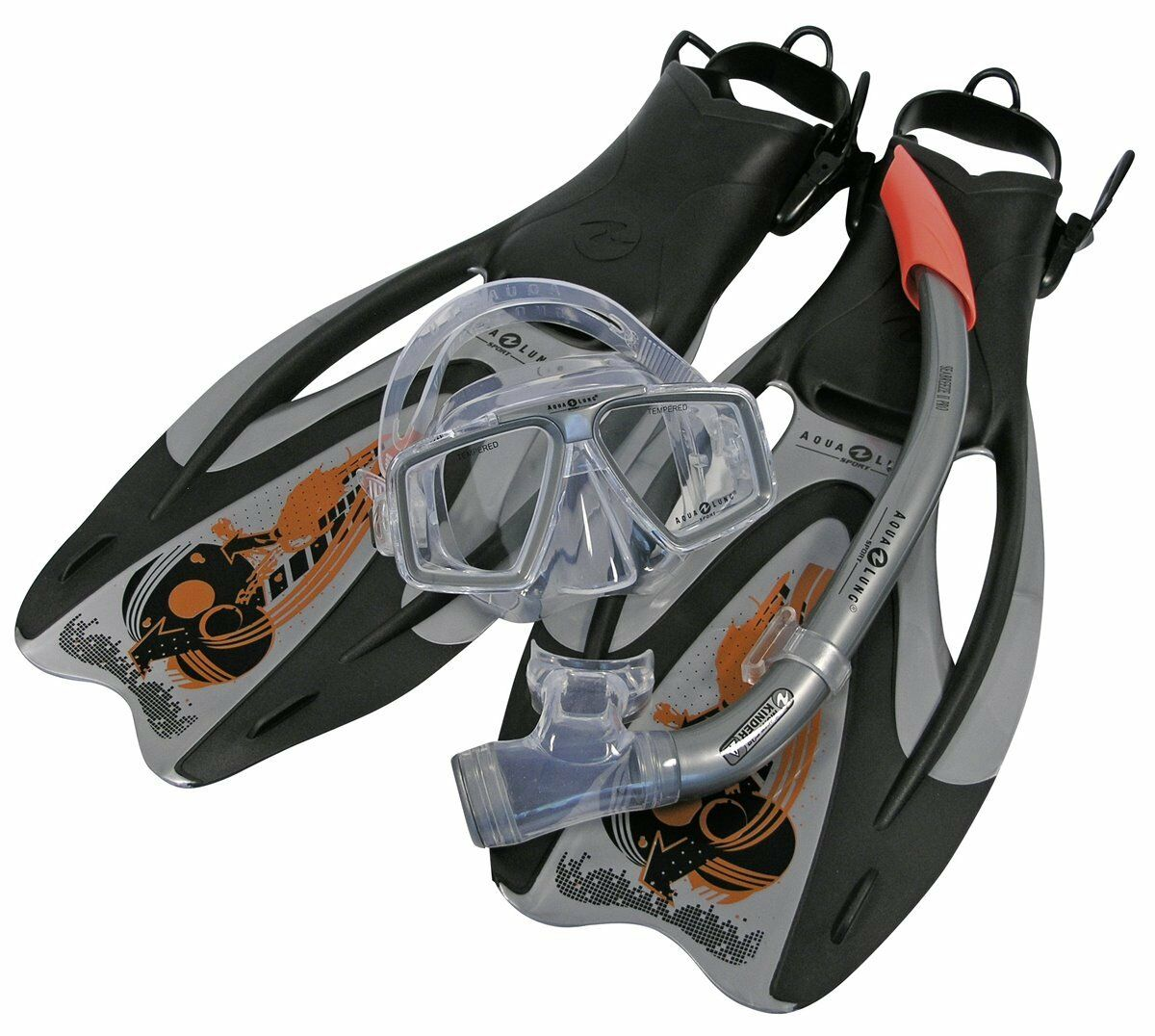 Aqualung Set de Buceo Pro ADJ plata-naranja Talla 36-48 Máscara, FLUIDO,