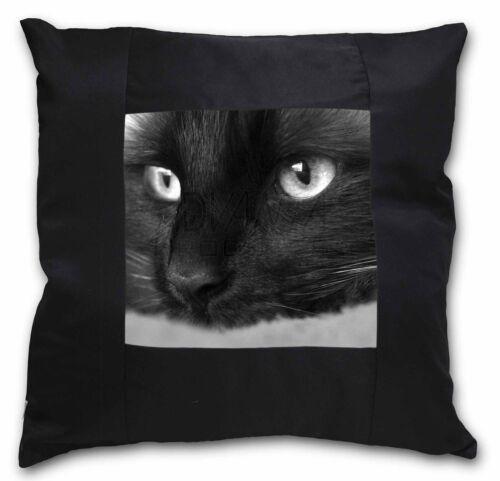 AC-1-CSB Gorgeous Black Cat Black Border Satin Feel Cushion Cover With Pillow I