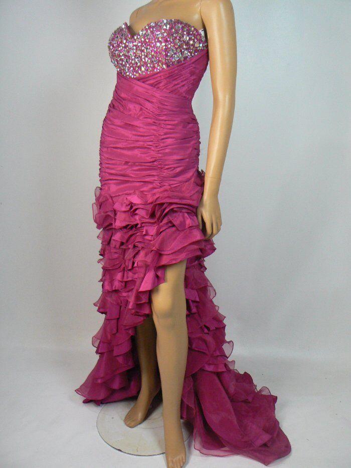 459 Bella Organza Taffeta Ruched Tiered Asymmetric Sheath Prom Gown 16 NEW B647